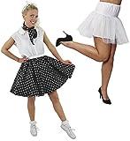 Disfraz de polka para mujer, falda de lunares con falda blanca y falda blanca (negro con puntos blancos y falda debajo de la falda)