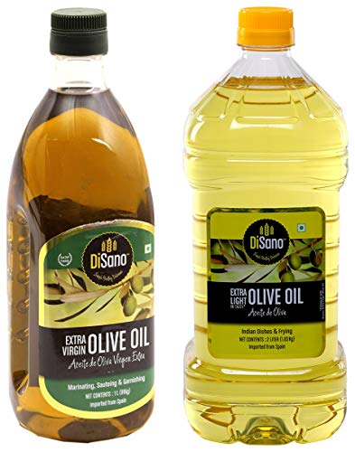 DiSano Extra Virgin Olive Oil, First Cold Pressed, 1L + DiSano Extra Light Olive Oil, Ideal for Indian Cooking, 2L