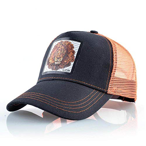 ZHYAODAI Sommer Unisex Drucken Tier Löwe Baseball Cap,Verstellbare Hip Hop Atmungsaktiv Orange Mesh Hat Snapback Cap,Street Sports and Travel Hat Nach Sonnenhut