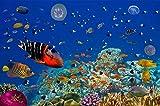 Papel Pintado Pintura Mural Mundo Submarino, Acuario, Vida Marina. Mural Pared Pintado Papel Tapiz 3D Decoración Fotomural Sala Sofá Pared Mural 150cmx105cm