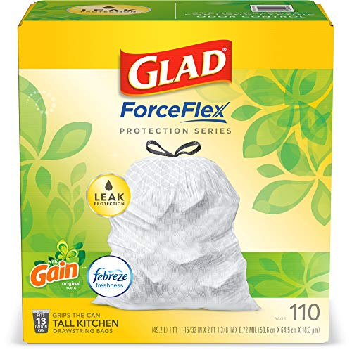 Glad ForceFlex Tall Kitchen Drawstring Trash Bags 13 Gallon White Trash Bag, Gain Original Scent with Febreze Freshness 110 Count (Package May Vary)