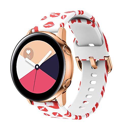 XZZTX Compatible avec la Bande Samsung Galaxy Watch Active de 42 mm, Bracelet de Rechange en Silicone Souple de 20 mm avec Boucle en Acier Inoxydable pour la Montre Galaxy