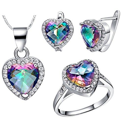 KnSam Collar Plata Mujer, Conjunto de Collar Pendientes y Pulsera, Vistoso Corazón Cristal Juego de Joyas Tamaño 15