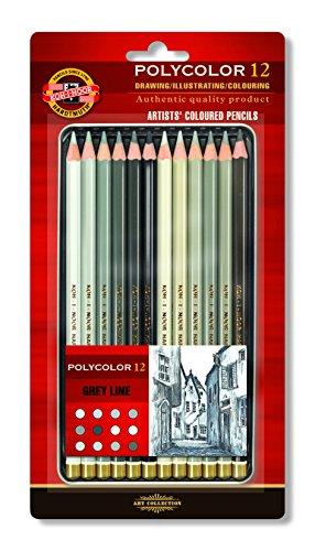 KOH-I-NOOR Polycolor Künstler-Farbstifte in Grautönen(12 Stück)
