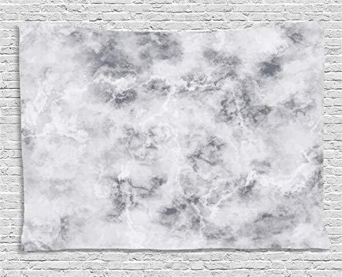 ABAKUHAUS Marmor Wandteppich, Granit Stürmische Details, Wohnzimmer Schlafzimmer Heim Seidiges Satin Wandteppich, 200 x 150 cm, Hellgrau Sand