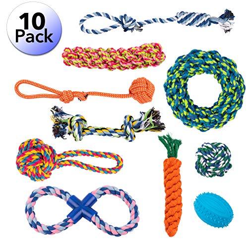 Set van 10 verschillende speelgoed voor grote honden, geschikt voor agressieve kauwen, met bal, eend en dik touw.