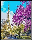 WLYUE W807 Paris European Torre Eiffel pintura por números sobre lienzo para colorear por números con pinturas acrílicas, regalos de Navidad