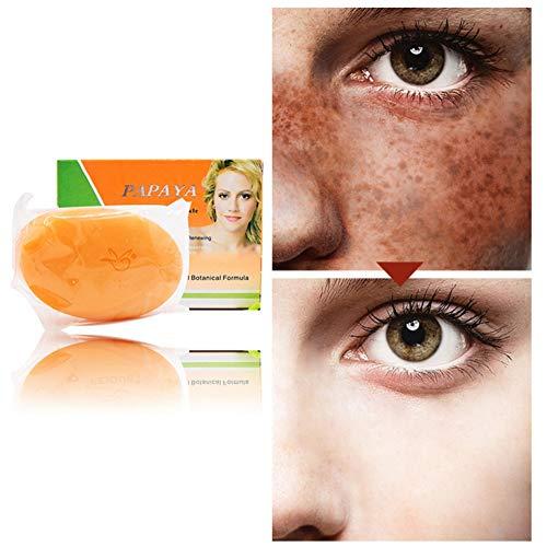 BOBORA Natürliche Papaya-Hautaufhellungsseife Anti-Sommersprossen-Seife Gesichtspflege Waschseife Hautaufheller Reduziert dunkle Flecken Aknenarben für weiche, seidig glatte Haut