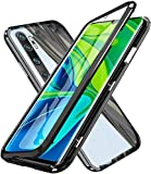 Hüllecool Hülle für Xiaomi Mi Note 10 Note 10 Pro Magnetic Adsorption Handyhülle, Magnetisch Schutzhülle 360 Grad Gehärtetes Glas Komplettschutz Durchsichtig Metall Bumper mit Panzerglas - Schwarz