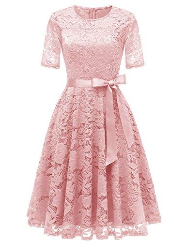 DRESSTELLS Elegant Damen Hochzeit Cocktail Spitzenkleid Rundhalsausschnitt Kurzarm Abendkleid Blush M