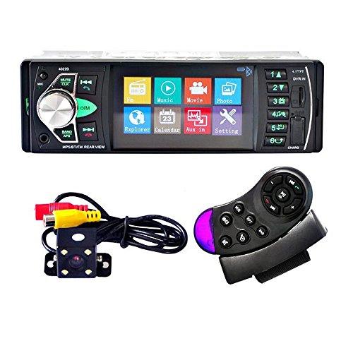 4022D Voiture Lecteur de Musique de Radio Portable avec Support de caméra de Vue arrière Bluetooth MP5/FM émetteur vidéo Support de Volant de Voiture de Commande à Distance+caméra de Voiture 4LED