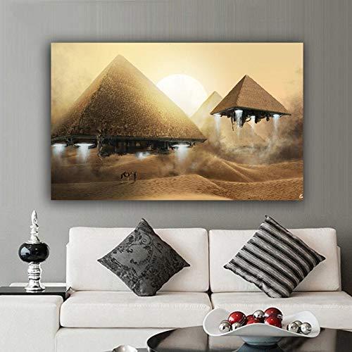Leinwand Malerei schwimmende Pyramide Ägypten Poster und Drucke dekorative Malerei Wandbilder für Wohnzimmer Home Decor No Frame-40x60cm