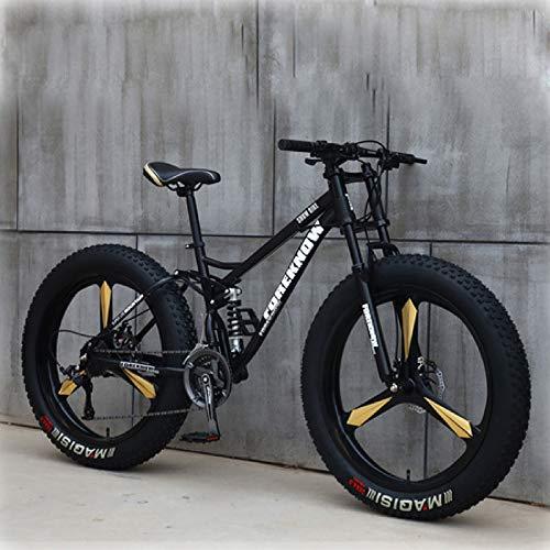 26'' Mountain Bike, 21-Speed, Dual Disc Brakes, Shock-Absorbing Anti-Skid Mountain Bike for Men and Women
