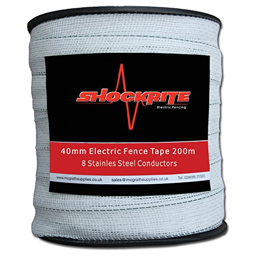 Equestrian Horse Fence White 200metres x 20mm x 4 Stainless Steel Strands Shire Electric Fence Tape