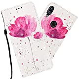 Asdsinfor Xiaomi Redmi Note 7 Case 3D Advanced Embossing Wallet Case Credit Cards Slot with Stand for PU Leather Shockproof Flip Magnetic Case for Xiaomi Redmi Note 7 / Note 7 Pro Pink Flower YB-3D