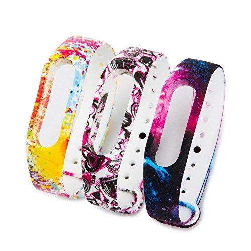 Fit-power Colorida banda reloj de reemplazo para Xiaomi Mi banda 2 bandas de accesorios inteligentes pulsera(No Tracker) (Pack of 3-type B)