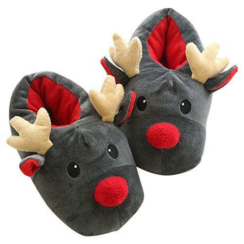 ZOYLINK Weihnachts Hausschuhe Mädche Plüsch Pantoffeln Urlaub Elch Slip Auf Winter Warme Innen Hausschuhe für Damen