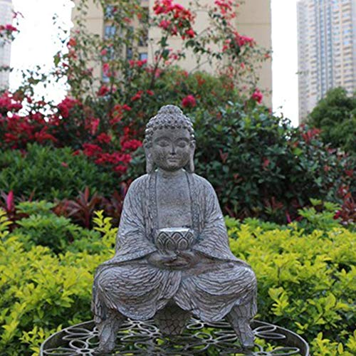 V-Parasoll Meditating Buddha Garden Statues with Solar Powered LED Light,Outdoor Zen Buddha Sculptures,Chinese Feng Shui Buddhist Gift for Patio Porch Yard Decoration