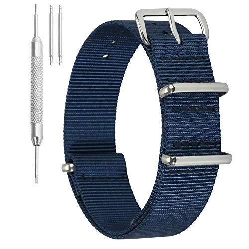 Nylon Correa para Reloj de NATO Correa para Reloj de Nylon 12mm Correa para Reloj Reloj para Mujer Correa Tejida Correa Militar Militar de Nylon con Hebilla de Plata Maciza