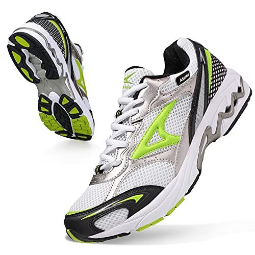ASHION Scarpe Running Uomo Trail Running Ragazzi Corsa su Strada Sportive Sneaker Ginnastica Donna ScarpeTrekking Fitness Casual 38 EU R Bianca