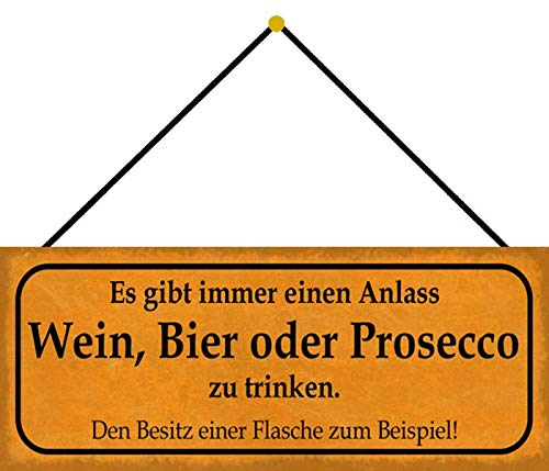 FS Wijn Bier Drinken Metal Sign 10 x 27 cm met koord
