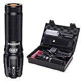 Shadowhawk X800 Taschenlampe Led, Extrem Hell 3000 Lumen Taschenlampen(mit 5000mah 26650 Batterie), 5 Lichtmodi, Aufladbar Taktische Taschenlampe mit Zoom für Camping, Wandern und Notfälle