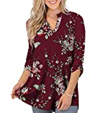 Othyroce Womens Summer Tops 3X Plus Size Tops for Women V Neck Tunics 3/4 Blouses Button Down Sleeve Shirts for Women, Burgundy
