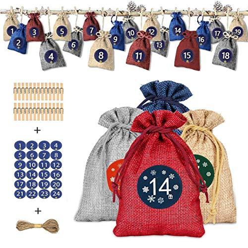 QYY Calendario Dell'Avvento Natale da Riempire,Sacchetto Regalo di Natale con 26 Fermagli in Legno e Corda di Canapa, Sacchetti Juta Natale Calendario Borsa