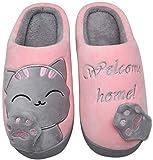 Mishansha Hombre Mujer Zapatillas de Casa para Invierno Otoño, con Forro de Felpa y Suela Dura, Cómodas/Blanditas/Mulliditas y Calentitas(048 Rosado, 39/40 EU - Tamaño del Fabricante: 40/41 CN)