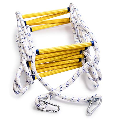 Aoneky Fire Escape Rope Ladder - Flame Resistant Emergency Fire Safety Evacuation Ladder with Hook Carabins for Kids and Adults, 2 - 3 Story Fire Rescue Ladder (32 Ft)