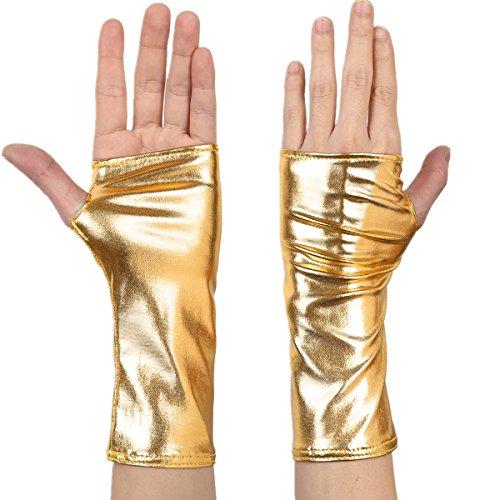 Freebily Damen Handschuhe aus Lackleder Wetlook Mini Metallic Optik Halb Fingerlose Handschuhe für Party Kostüm Gold One Size