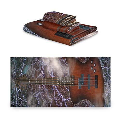 Toallas de baño Set decorativo Jazz Rock Cool Guitarra eléctrica para niño...