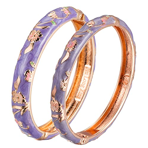 UJOY Designer Cloisonne Bracelets Indian Flower Enameled Jewelry Open Cuff Clasp Hinged Bangle Sets with Gift Box for Women 55A111-55B31 Purple