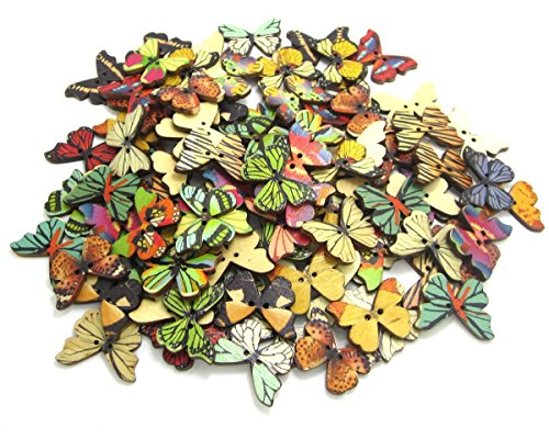 NAMVO 100PCS Botón de Mariposa 2 Agujeros de Madera de Colores para DIY Coser Artesanía Scrapbooking