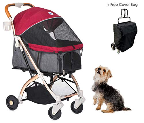 HPZ Pet Rover Lite Travel Stroller for Small &...