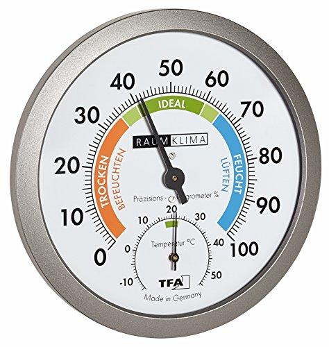 TFA Dostmann Analoges Thermo-Hygrometer, gesundes Raumklima, farbige Komfortzonen, Temperatur, Luftfeuchtigkeit