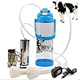 Portable Milking Machine, Electric Vacuum Pump Milker Machine with Pulse Controller 3L Bottle and 2 Milker for Sheep Goat Cow Milking Kit Dairy Homestead (EU Plug, Blue)