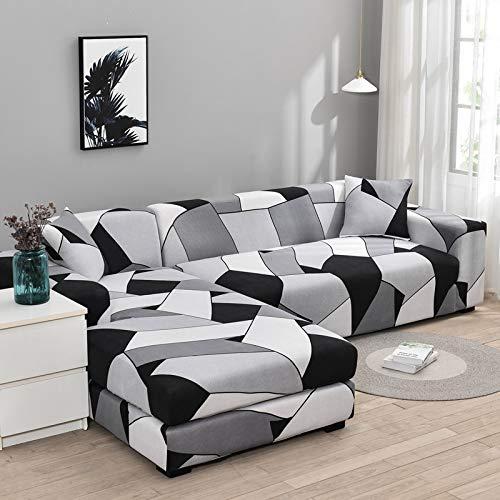 Funda de sofá elástica con Estampado Floral para el Protector de la Funda de la Silla de la Sala de Estar Compre Dos Fundas separadas para el sofá en Forma de L A9 de 4 plazas