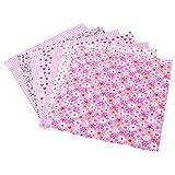 Artibetter 6Pcs Tessuto Floreale Foglio di Stoffa di Cotone Patchwork Tessuto Materiale Fai da Te Quadrati Motivo Floreale Cotone per Cucito Scrapbooking (Rosa)