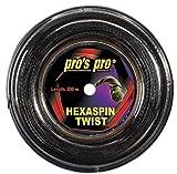 Pro Tenis Cordaje Hexaspin Twist 1,25 mm de 200m Negro