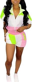 Womens Windbreaker Tracksuit Romper Lightweight Colorblock 2 Pieces Outfit Crop Top Short Pants Jogger Set Sportswear