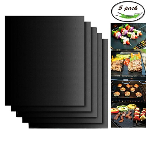 Alenbrathy Nonstick BBQ Grill Mat, Perfect for Charcoal, Electric and Gas Grill, Reusable, Easy to Clean, Dishwasher Safe, Set of 5 Mats, Essential Grilling Accessories for Home Cooks and Grillers