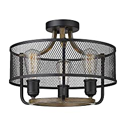 Amazon Com Osimir 3 Light Semi Flush Mount Ceiling Light Industrial Ceiling Fixture In Matte Black Wooden Finish Round Ceiling Light Fixture For Bedroom Living Room Dining Room Re9166 3 Home Improvement