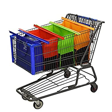 Reusable Shopping Cart Bags and Grocery Organizer Designed for Trolley Carts by Modern Day Living, Classic, Medium