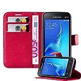 Cadorabo Funda Libro para Samsung Galaxy J1 Mini en Rojo CARMÍN - Cubierta Proteccíon con Cierre Magnético, Tarjetero y Función de Suporte - Etui Case Cover Carcasa