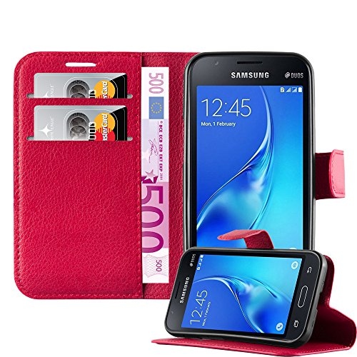 Cadorabo Hülle für Samsung Galaxy J1 Mini - Hülle in Karmin ROT – Handyhülle mit Kartenfach & Standfunktion - Hülle Cover Schutzhülle Etui Tasche Book Klapp Style