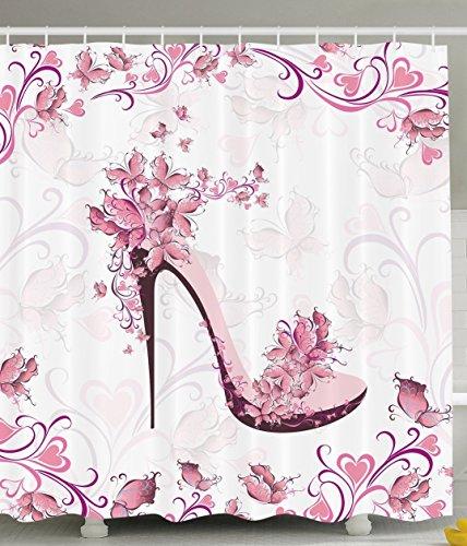 BBFhome Duschvorhang 180 x 180 CM Punk & Lila Frauen Schuhe mit Rosen & Herzen & Schmetterlinge fliegen Polyester Gewebe Badezimmer Set mit Haken