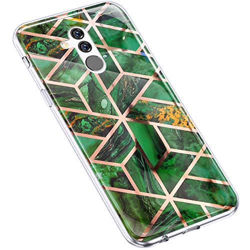 Uposao Kompatibel mit Huawei Mate 20 Lite Hülle Silikon Glitzer Marmor 3D Geometrische Muster Handyhülle Ultradünn TPU Silikon Hülle Schutzhülle TPU Bumper Rückschale Case,Marmor Grün
