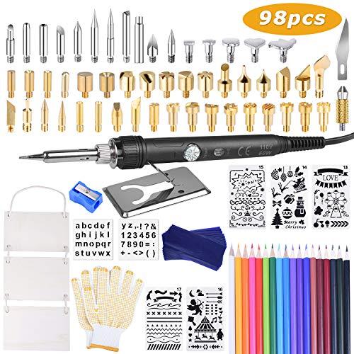 kuman Kit Pirograbador de Madera,98Pcs Kit de Pirografía de Herramientas de Pirograbador Profesional para Adultos,60W, Temperatura Ajustable (200-450 ℃), para Soldadura/Grabado en Madera