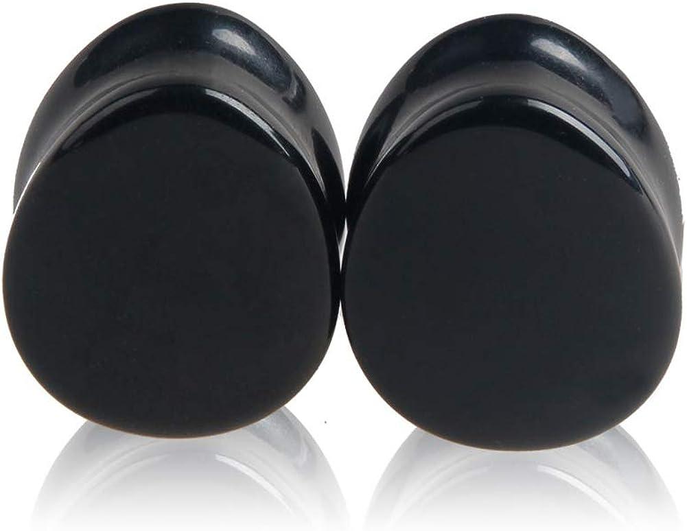 HQLA 1 Pair Teardrop Black Obsidian Natural Stone Plug Tunnels Ear Gauges Expanders Stretcher Body Piercings
